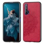 Mandala Flower Imprint Leather+PC+TPU Cell Covering Shell for Huawei Honor 20 Pro – Red
