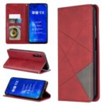 Geometric Pattern Leather Card Holder Case for Huawei Honor 9X / 9X Pro – Red