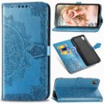 Embossed Mandala Flower Leather Wallet Case for Huawei Y5 (2019) – Blue