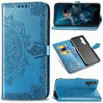 Embossed Mandala Flower Leather Wallet Case for Huawei Honor 20 / Nova 5T – Blue