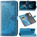 Embossed Mandala Flower Leather Wallet Case for Huawei Honor 20 Pro – Blue