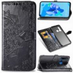 Embossed Mandala Flower Wallet Leather Case Covering for Huawei P20 lite (2019) / nova 5i – Black