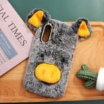 Rhinestone Decor Fluffy Fur Coated TPU Cover for Huawei Honor 9X / 9X Pro – Grey