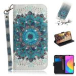 Light Spot Decor Pattern Printing Wallet Stand Leather Protective Phone Case Cover for Xiaomi Mi CC9e / Mi A3 – Blue Flower