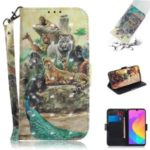 Light Spot Decor Pattern Printing Wallet Stand Flip Leather Phone Shell with Strap for Xiaomi Mi CC9/Mi CC9 Meitu Edition – Zoo