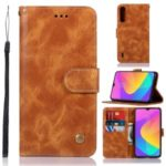 Retro Premium PU Leather Wallet Shell Casing with Stand for Xiaomi Mi CC9 / CC9 Meitu Edition – Brown