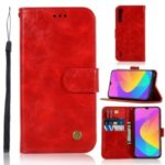Retro Leather Wallet Case Shell for Xiaomi Mi CC9e / Mi A3 – Red