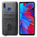 Card Holder Leather Coated Hard PC Phone Cover with Strap Shell for Xiaomi Redmi Note 7/ Note 7 Pro (India) / Note 7S – Black