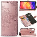 Embossed Mandala Flower Leather Wallet Case for Xiaomi Redmi Note 7 / Note 7 Pro (India) / Note 7S – Rose Gold