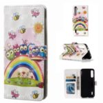 Pattern Printing Light Spot Decor Stand Wallet Leather Phone Cover for Xiaomi Mi CC9e/Mi A3 – Rainbow and Birds