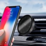 For iPhone XS Max 6.5 inch/XR 6.1 inch Creative Clock Metal Magnetism Car Air Outlet Mobile Base