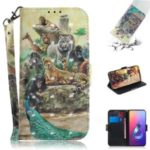 Light Spot Decor Pattern Printing Wallet Stand Flip Leather Phone Shell with Strap for Asus Zenfone 6 ZS630KL – Animal kingdom