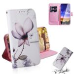 Printing Skin PU Leather Stand Wallet Protector Phone Case Shell for Nokia 2.2 – Flower