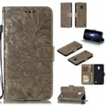 For Nokia 2.2 Imprinted Lace Flower Skin Leather Wallet Casing Cover – Brown