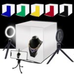 PULUZ 30cm Photo Softbox Portable Folding Studio Shooting Tent Box + 4.6 inch Ring LED Light Kits with 6 Colors Backdrops (Red, Green, Yellow, Blue, White, Black)