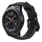 Genuine Leather Watch Band Strap for Samsung Gear S3 Frontier / S3 Classic – Black / Black Buckle