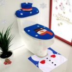 3pcs/set Christmas Bathroom Decorations Toilet Seat Cover + U-shaped Blanket + Tank Lid & Tissue Box Cover Set – #1