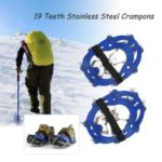For Outdoor Ski Ice Snow Hiking 19 Teeth Stainless Steel Crampons Nylon Strap Non-slip Shoes Cover