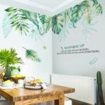 2PCS/Set Leaf Adhesive Wallpaper Room Wall Stickers Home Decor Mural Art Decal