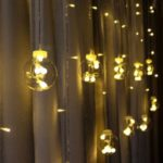 LED Copper Wire Star Curtain String Lights Lamp Fantasy Starry Wishing Ball Round Wedding Christmas Decoration – Warm White/EU Plug