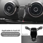 Horizontal and Vertical Mobile Phone Bracket Phone Holder Car Air Vent Stand for Audi A3/S3 – Black