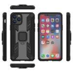 Warrior Style Rotating Ring Kickstand PC + TPU Hybrid Case for iPhone 11 Pro 5.8 inch (2019) – Black