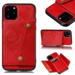 PU Leather Coated Built-in Vehicle Magnetic Sheet TPU Shell for iPhone 11 Pro Max 6.5 inch – Red