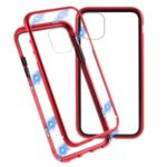 Magnetic Adsorption Metal Frame + Tempered Glass Phone Case for Apple iPhone 11 6.1 inch – Red