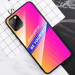 Shiny Color Tempered Glass PC TPU Back Shell for iPhone 11 6.1 inch – Rose