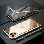 LUPHIE Magnetic Adsorption Metal + Tempered Glass Phone Case for Apple iPhone 11 Pro Max 6.5 inch – Gold