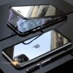 LUPHI Magnetic Installation Metal Frame + Tempered Glass Protective Shell for iPhone 11 Pro Max 6.5-inch – Black