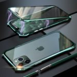 LUPHIE Bat Style Magnetic Installation Metal Frame + Tempered Glass Alll-side Protective Case for iPhone 11 Pro Max 6.5 inch – Green