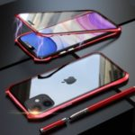 LUPHIE Bat Style Magnetic Installation Metal Frame + Tempered Glass Alll-side Protective Shell for iPhone 11 6.1 inch (2019) – Red