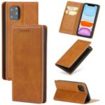 Auto-absorbed PU Leather Stand Case Cover with Card Slots for iPhone 11 Pro Max 6.5-inch – Light Brown
