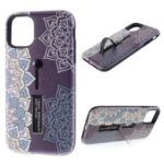 For iPhone 11 6.1-inch Embossed Flower Pattern Phone Case with Finger Grip and Kickstand – Purple