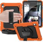 360° Swivel Handy Strap PC Silicone Combo Kickstand Tablet Shell with Shoulder Strap + Screen Protector for iPad Pro 11-inch (2018) – Orange Outer Layer/Black