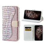 Crocodile Texture Flash Powder Leather Phone Shell with Stand Wallet Case for iPhone 11 Pro 5.8 inch – Rose Gold