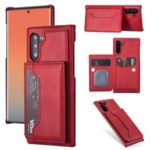PU Leather + PC Card Holder Kickstand Phone Case for Samsung Galaxy Note 10/Note 10 5G – Red
