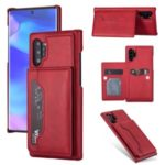 PU Leather + PC Card Holder Kickstand Phone Case for Samsung Galaxy Note 10 Plus 5G/Note 10 Plus – Red