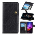 S-shape Crazy Horse Texture Leather Wallet Phone Shell for Samsung Galaxy A20s – Black