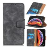 Vintage Style Split Leather Wallet Stand Phone Case for Samsung Galaxy A90 5G – Grey