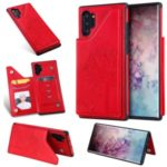 Imprint Cat and Tree PU Leather  TPU Phone Case with Kickstand and Card Slots for Samsung Galaxy Note 10 Plus / Note 10 Plus 5G – Red