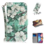 Light Spot Decor Pattern Printing Wallet Leather Phone Cover with Strap for Samsung Galaxy M30s – White Flower
