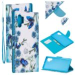 Pattern Printing Wallet Leather Case with Strap for Samsung Galaxy Note 10 Plus / Note 10 Plus 5G – Blue Butterfly and Flower