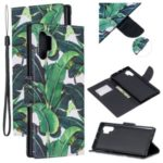 Pattern Printing Wallet Leather Case with Strap for Samsung Galaxy Note 10 Plus / Note 10 Plus 5G – Leaf