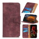 Retro Leather Wallet Cell Case for Samsung Galaxy M30s – Wine Red