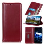 Auto-absorbed Split Leather Wallet Case Covering for Samsung Galaxy M30s – Wine Red