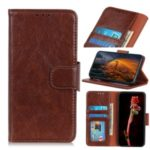 PU Leather Wallet Stand Covering Case for Samsung Galaxy M30s – Brown