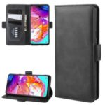 Magnetic Clasp Leather Wallet Stand Phone Case for Samsung Galaxy A20s – Black