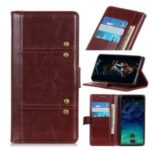 Rivet Decor Crazy Horse Texture Wallet Stand Leather Covering for Samsung Galaxy A90 5G – Brown